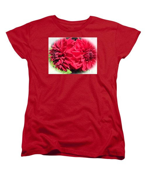 Women's T-Shirt (Standard Cut) featuring the photograph Twin Red Dahlias by Tina M Wenger