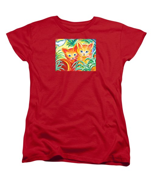 Women's T-Shirt (Standard Cut) featuring the painting Two Cats by Anya Heller