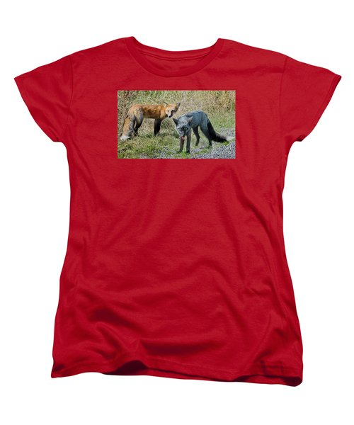 Two Fox Seattle Women's T-Shirt (Standard Cut) by Jennie Breeze