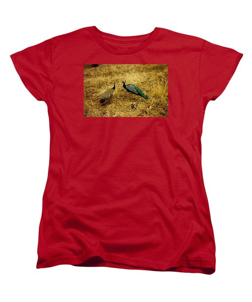 Two Peacocks Yaking Women's T-Shirt (Standard Cut) by Amazing Photographs AKA Christian Wilson