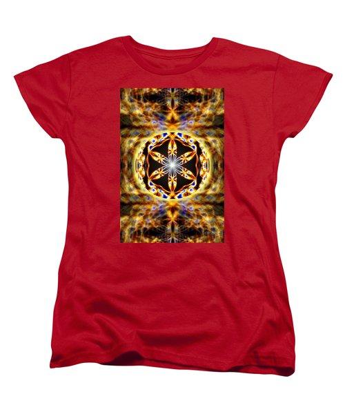 Women's T-Shirt (Standard Cut) featuring the drawing Universal Heart Fire by Derek Gedney
