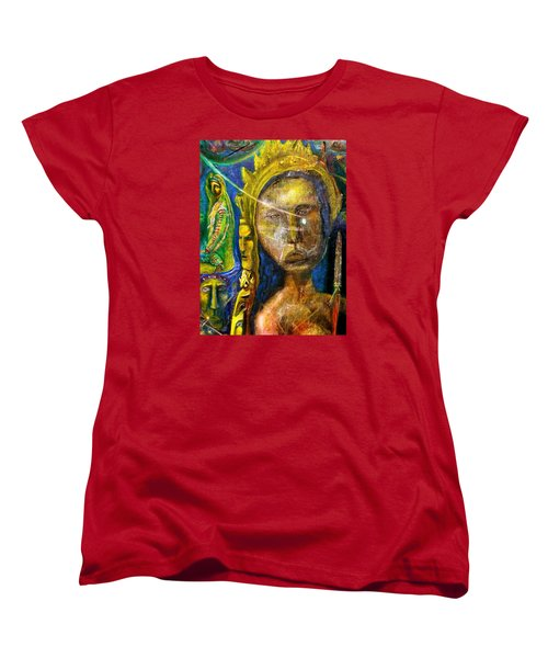 Women's T-Shirt (Standard Cut) featuring the painting Universal Totem by Kicking Bear  Productions