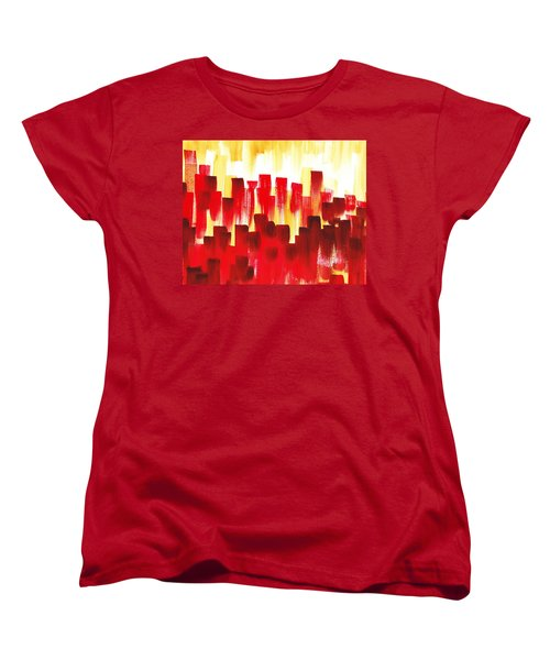 Women's T-Shirt (Standard Cut) featuring the painting Urban Abstract Red City Lights by Irina Sztukowski