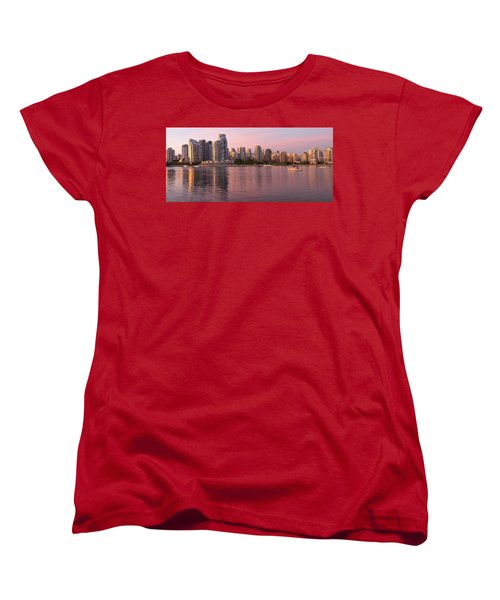 Women's T-Shirt (Standard Cut) featuring the photograph Vancouver Bc Skyline Along False Creek At Dusk by JPLDesigns