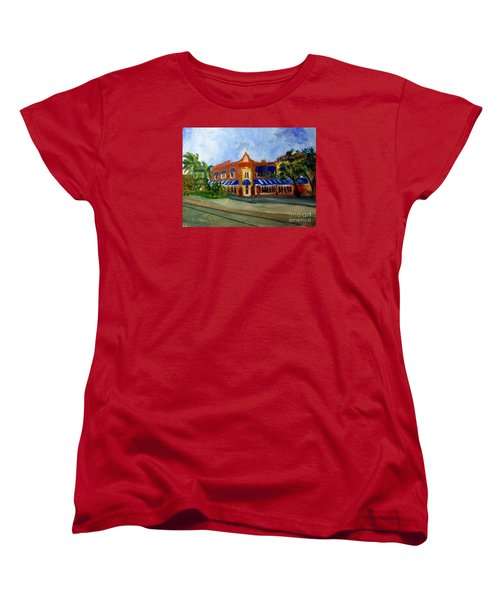 Vic And Angelos In Downtown Delray Beach Women's T-Shirt (Standard Cut) by Donna Walsh