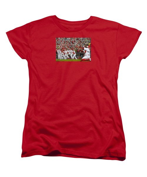 Victory - St Louis Cardinals Win The World Series Title - Friday Oct 28th 2011 Women's T-Shirt (Standard Cut) by Dan Haraga