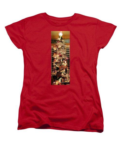 Village Christmas Tree Women's T-Shirt (Standard Cut) by Randall Weidner