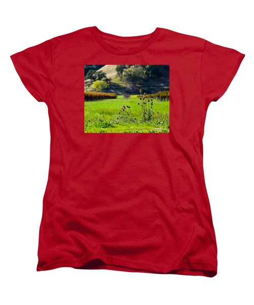 Women's T-Shirt (Standard Cut) featuring the photograph Vineyard Thistles by CML Brown