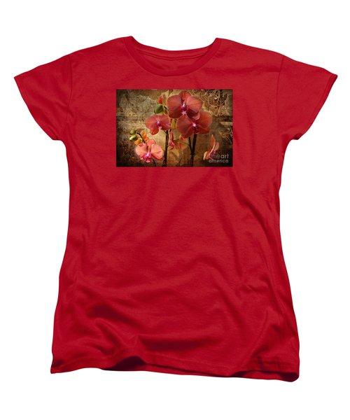Vintage Burnt Orange Orchids Women's T-Shirt (Standard Cut) by Judy Palkimas