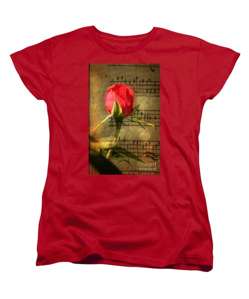 Women's T-Shirt (Standard Cut) featuring the photograph Vintage Love Story Symphony by Judy Palkimas