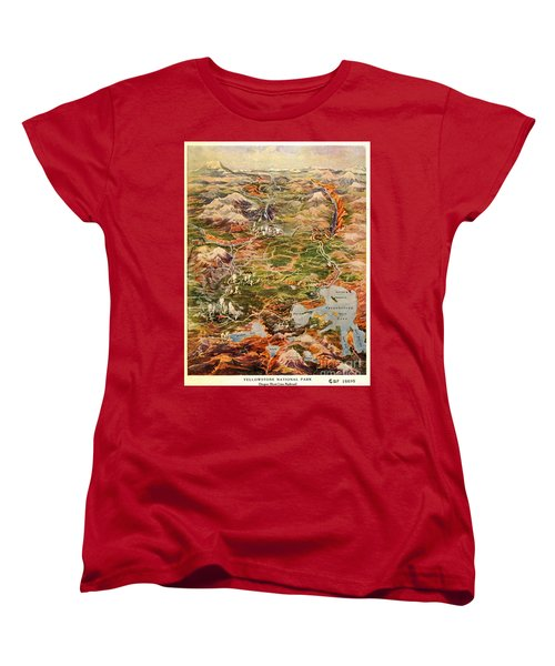 Vintage Map Of Yellowstone National Park Women's T-Shirt (Standard Fit)