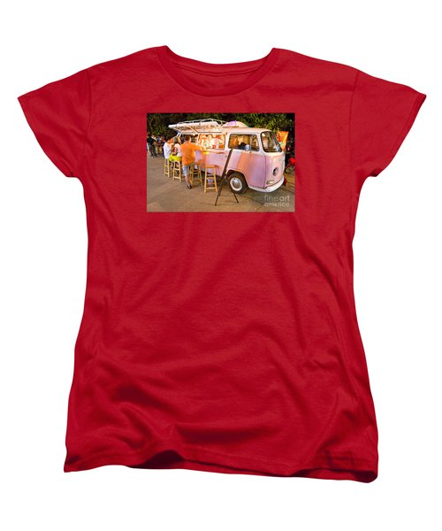 Vintage Pink Volkswagen Bus Women's T-Shirt (Standard Cut) by Luciano Mortula