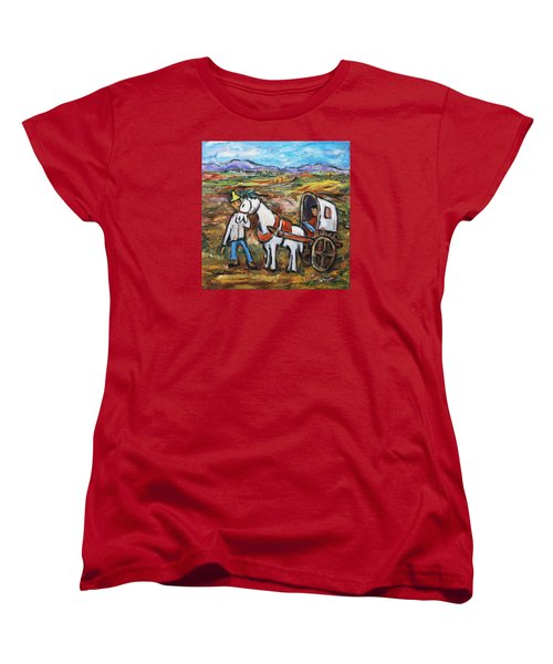 Women's T-Shirt (Standard Cut) featuring the painting Visit The In-laws by Xueling Zou