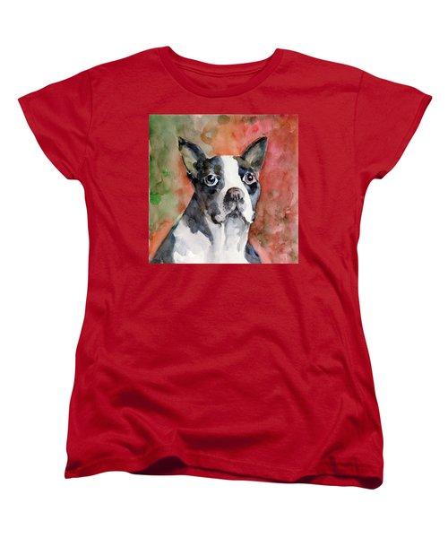 Women's T-Shirt (Standard Cut) featuring the painting Vodka - French Bulldog by Faruk Koksal