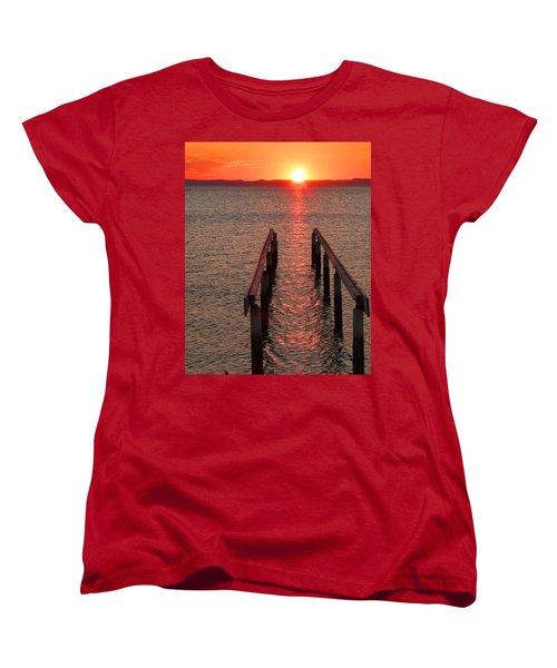 Women's T-Shirt (Standard Cut) featuring the photograph Walkway To The Sun by Alan Socolik