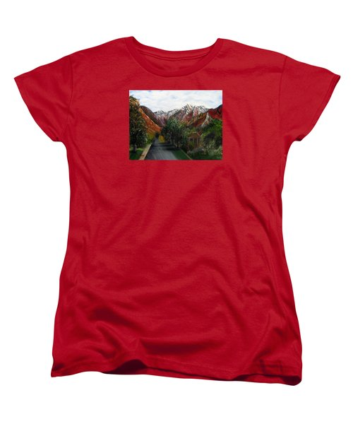 Women's T-Shirt (Standard Cut) featuring the painting Wasatch Range Looking Up Binford St. by LaVonne Hand