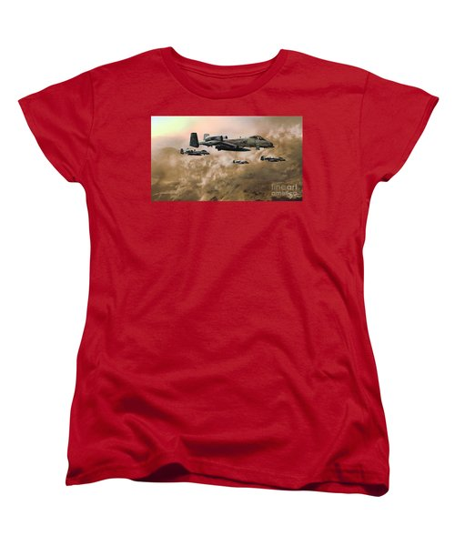 Women's T-Shirt (Standard Cut) featuring the painting Waypoint Alpha - Outline by Dave Luebbert