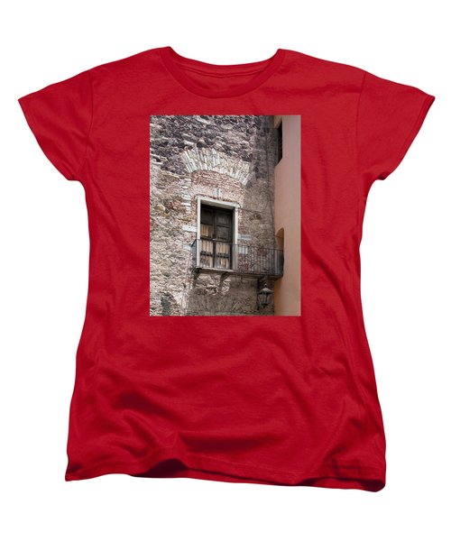 Women's T-Shirt (Standard Cut) featuring the photograph Weathered Wooden Church Doors by Lynn Palmer