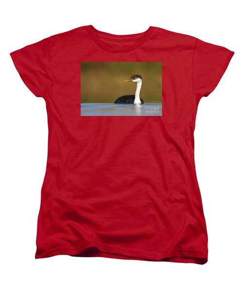 Women's T-Shirt (Standard Cut) featuring the photograph Western Grebe On The Lake by Bryan Keil