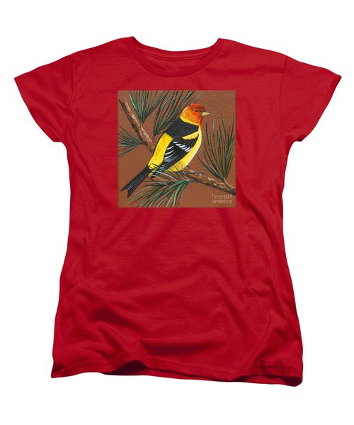 Women's T-Shirt (Standard Cut) featuring the painting Western Tanager by Jennifer Lake