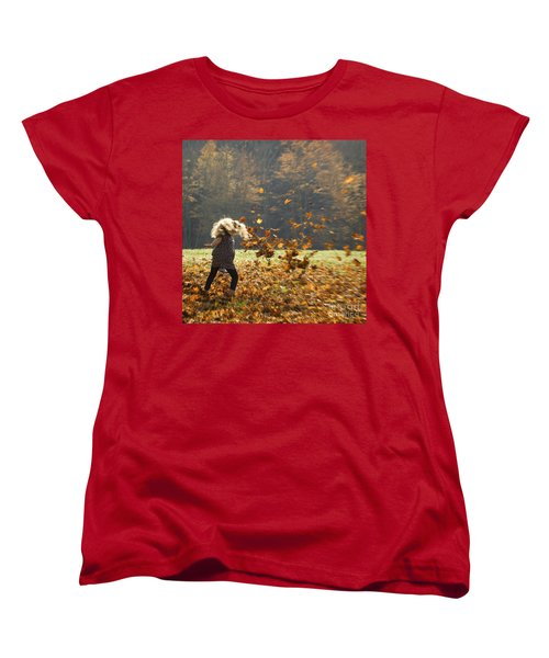 Women's T-Shirt (Standard Cut) featuring the photograph Whirling With Leaves by Carol Lynn Coronios
