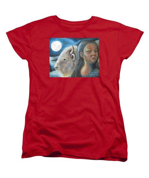 White Buffalo Portrait Women's T-Shirt (Standard Cut) by Samantha Geernaert