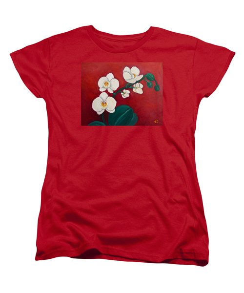 White Orchids Women's T-Shirt (Standard Cut) by Victoria Lakes