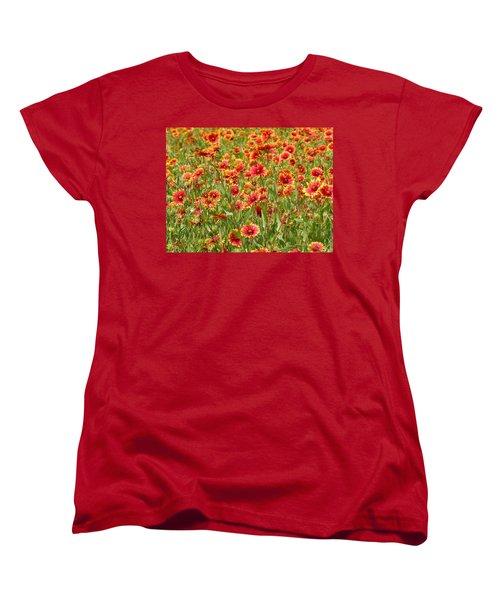 Women's T-Shirt (Standard Cut) featuring the photograph Wild Red Daisies #1 by Robert ONeil