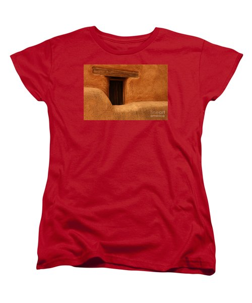 Women's T-Shirt (Standard Cut) featuring the photograph Window Detail Degrazia Mission In The Sun by Vivian Christopher