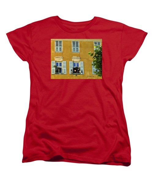 Women's T-Shirt (Standard Cut) featuring the photograph Windowboxes In Nice France by Allen Sheffield