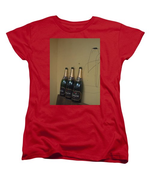 Wine And A Man Women's T-Shirt (Standard Cut) by Rachel Mirror