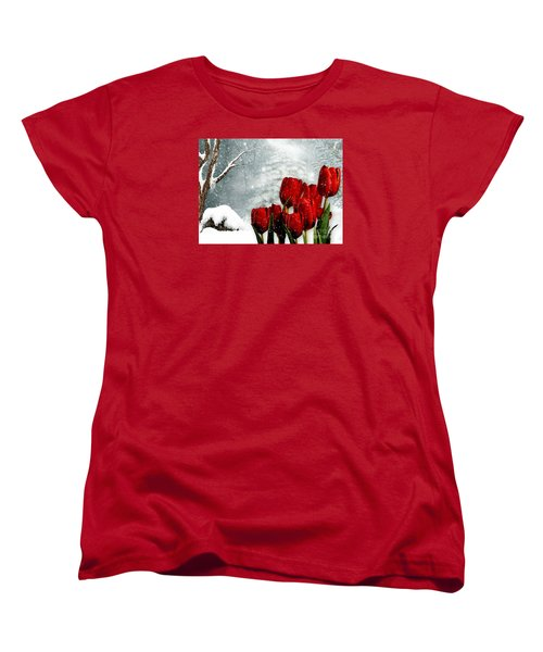 Winter Tulips Women's T-Shirt (Standard Cut) by Morag Bates
