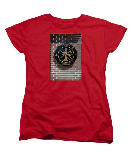 Women's T-Shirt (Standard Cut) featuring the photograph Wisconsin State Firefighters Memorial Park 5 by Susan  McMenamin