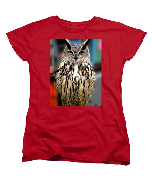 Wise Forest Mountain Owl Spain Women's T-Shirt (Standard Cut) by Colette V Hera  Guggenheim
