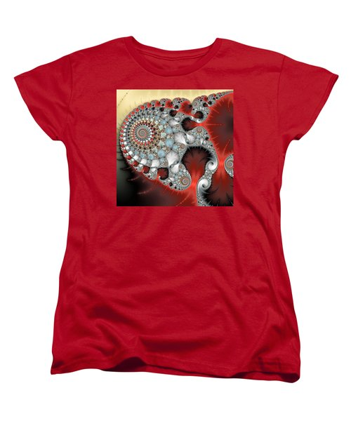 Wonderful Abstract Fractal Spirals Red Grey Yellow And Light Blue Women's T-Shirt (Standard Cut) by Matthias Hauser