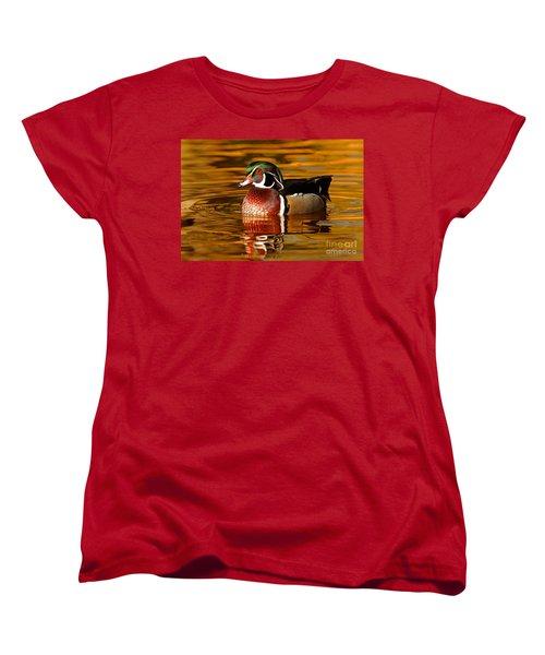 Wood-drake On The Golden Light Women's T-Shirt (Standard Cut) by Mircea Costina Photography