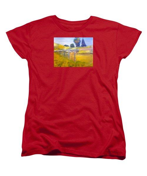 Women's T-Shirt (Standard Cut) featuring the painting Wooden Bridge At Graften by Pamela  Meredith