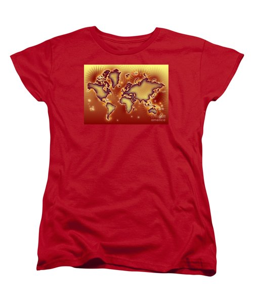 World Map Amuza In Red And Yellow Women's T-Shirt (Standard Cut) by Eleven Corners