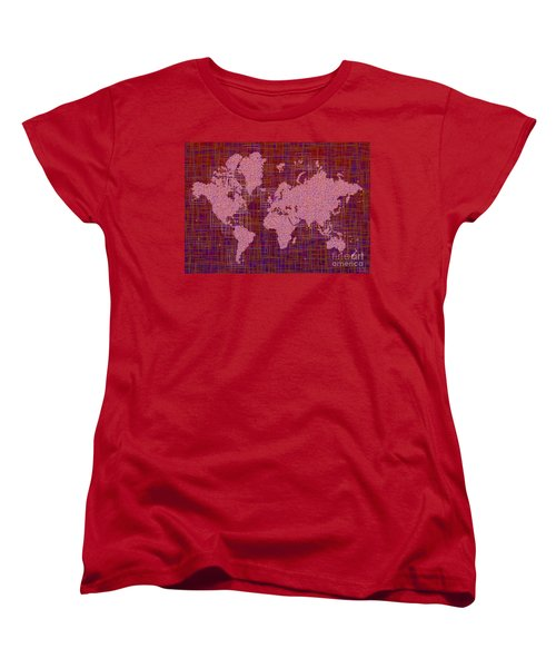 World Map Rettangoli In Pink Red And Purple Women's T-Shirt (Standard Cut) by Eleven Corners