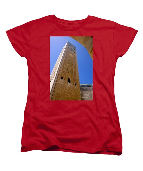 Women's T-Shirt (Standard Cut) featuring the photograph Worlds Tallest Minaret At 210m Hassan II Mosque Grand Mosque Sour Jdid Casablanca Morocco by Ralph A  Ledergerber-Photography