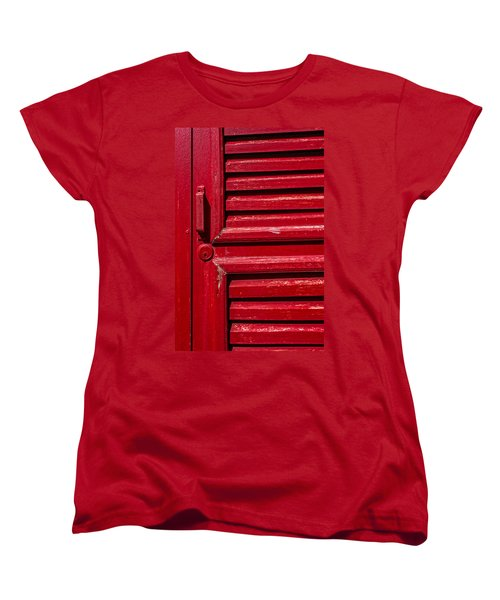 Worn Red Shuttered Door Women's T-Shirt (Standard Cut) by James Hammond