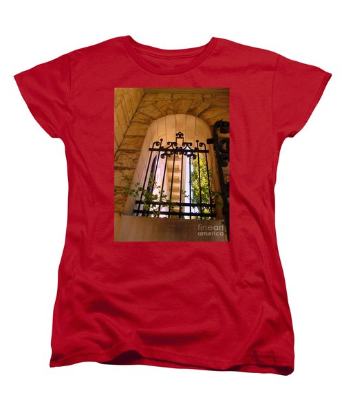 Women's T-Shirt (Standard Cut) featuring the photograph Wrought Iron Arch Window 1 by Becky Lupe