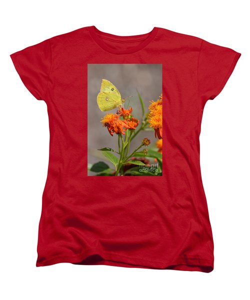 Women's T-Shirt (Standard Cut) featuring the photograph Yellow Sulphur Butterfly by Debra Martz