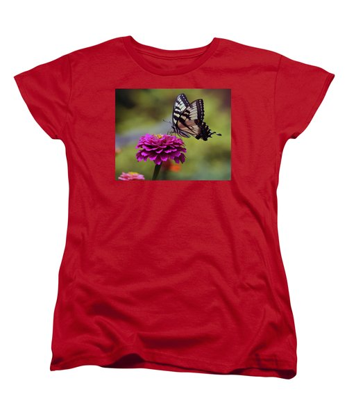 Women's T-Shirt (Standard Cut) featuring the photograph Yellow Tiger Swallowtail Butterfly by Kay Novy