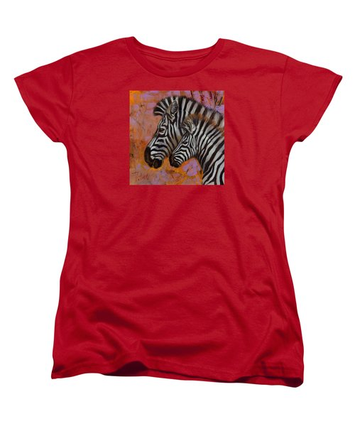Women's T-Shirt (Standard Cut) featuring the painting Yipes Stripes by Pattie Wall