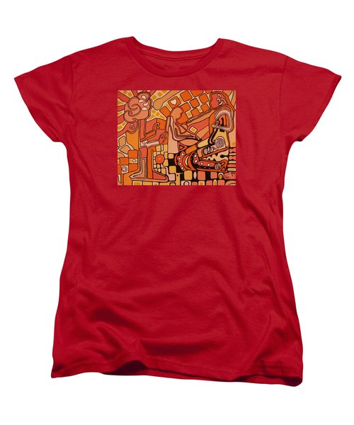 Women's T-Shirt (Standard Cut) featuring the painting You Me And The Machine by Barbara St Jean