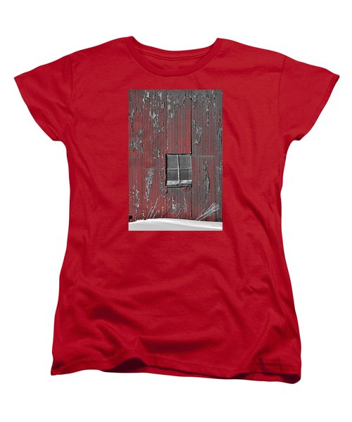 Zink Rd Barn Window Bw Red Women's T-Shirt (Standard Cut) by Daniel Thompson