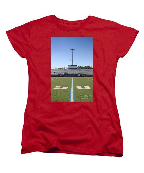 Women's T-Shirt (Standard Cut) featuring the photograph Football Field Fifty by Henrik Lehnerer