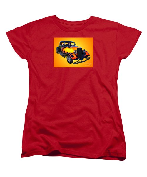 1934 Ford 3 Window Coupe Hotrod Women's T-Shirt (Standard Cut) by Jim Carrell