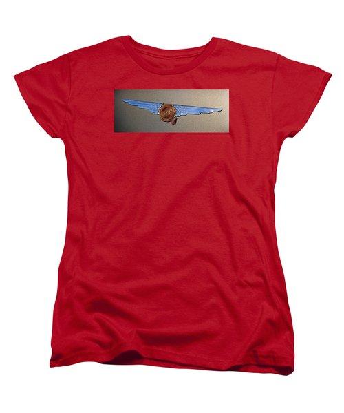 Women's T-Shirt (Standard Cut) featuring the photograph 1937 Chrysler Airflow Emblem by Gordon Dean II